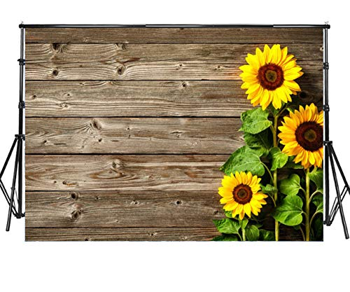 Sensfun 10x6.5ft Vinyl Wood Photo Booth Backdrops Autumn Sunflowers on Rustic Brown Wood Wall Photography Background for Wedding Baby Shower Children Newborn Birthday Party Photo Studio Props(WP049) ()