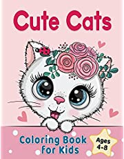 Cute Cats Coloring Book for Kids Ages 4-8: Adorable Cartoon Cats, Kittens & Caticorns