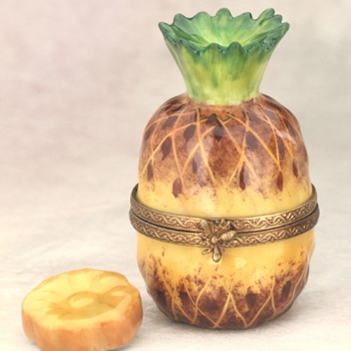Porcelain Pineapple (Limoges French Handpainted Porcelain Pineapple Box with Slice)