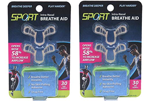Sport Intra-Nasal Breathe Aids from SleepRight Breathing Aids for Sports Nasal Dilator for Athletes (2-Pack)