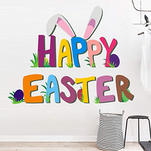 ❤Ywoow❤ Wall Decals, Happy Easter Rabbit Vinyl Decal Art Wall Sticker DIY Home Room -