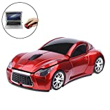 EIGIIS Wireless Car Mouse 2.4GHz Sports Car Mice With USB Receiver for PC Computer Laptop (Red)