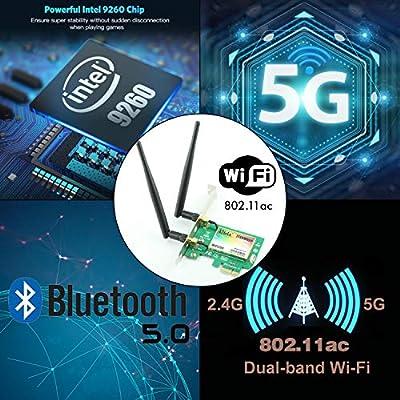 Tarjeta Gigabit WiFi, Wireless-AC 9260 Dual Band 2030Mbps (5G-1730Mbps / 2.4G-300Mbps), Tarjeta PCIe WiFi, Tarjeta de red inalámbrica Bluetooth 5.0, ...