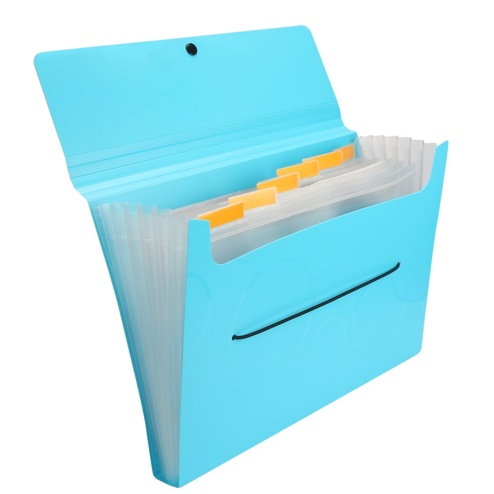 Shuter Expanding Accordion File Folder with Smiley Elastic Rope Closure, Lightweight Rigid File Organizer with Tabs, 7 Pockets
