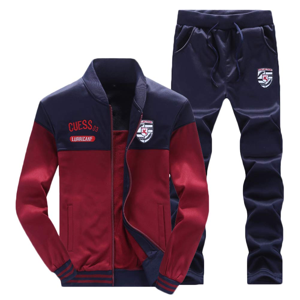 Mens Tracksuit Set Full Sleeve Zipper Fleece Jacket Bottoms Jogging Joggers Gym Trousers