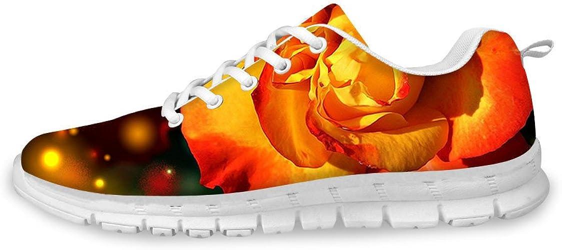 AXGM - Zapatillas de Correr para Mujer, Tallas Grandes, Zapatillas para Correr, Zapatillas, Color Naranja, diseño de Flores, para niñas, Transpirables, Color, Talla 39 EU: Amazon.es: Zapatos y complementos