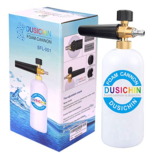 DUSICHIN SFL-001 Foam Cannon Snow Foam Lance Pressure Washer Jet Wash Quick Release Adjustable Nozzle 1/4 Inch Male Fitting Foam Dispenser