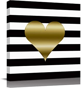Canvas Prints Wall Art Valentines Day Gold Heart with Black and White Stripes Wall Pictures Giclee Wall Decor on Canvas Stretched Artwork Living Room Bedroom Poster Art Ready to Hang 12x12 Inch