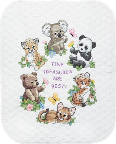 Brand New Baby Hugs Baby Animals Quilt Stamped Cross Stitch
