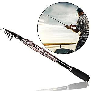Telescopic Fishing Rod Eocusun Ultra Light 5 Types of Adjustable Length Portable Carbon Fiber Travel Spinning Fishing Pole for Saltwater and Freshwater(1pc)(1.8m/70.2inches)