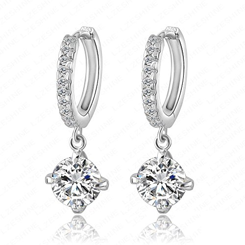[Victoria Echo Womens Sterling Silver Diamond Cut Stone Sparkling Zriconic Hoop Dangle Earrings] (Halloween Costume Ball Nyc)