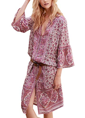 (R.Vivimos Women's Spring Cotton Floral Print 3/4 Sleeve Casual Bohemian Cardigan Button Down Midi Dress (Medium, Pink))