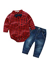 DOTACOKO Baby Boys Plaid T-Shirt and Denim Pants 2 Piece Set with Bowtie