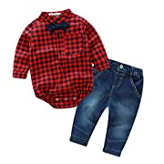 2 Pieces Baby Boys Gentleman Bowtie Plaid Shirt and Denim Pants Outfit Set Red 0-6 Months
