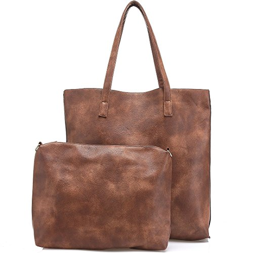 JOYSON Women Handbags Vintage Tote Bags Shoulder PU Leather Bags Large Capacity Set Brown by JOYSON