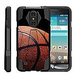 TurtleArmor | LG Aristo Case | LG LV3 Case | LG K8 (2017) Case [Dynamic Shell] Dual Hybrid Hard Impact Silicone Cover Kickstand Sports and Games Design - Basketball Seams