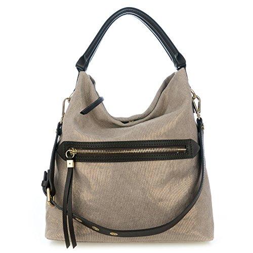 ian Made Metallic Champagne Canvas Zip Pocket Hobo Bag ()