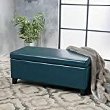 Christopher Knight Home 300170 Living Mataeo Teal Leather Storage Ottoman For Sale