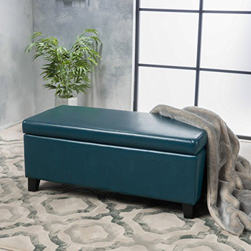 Christopher Knight Home 300170 Living Mataeo Teal Leather Storage Ottoman