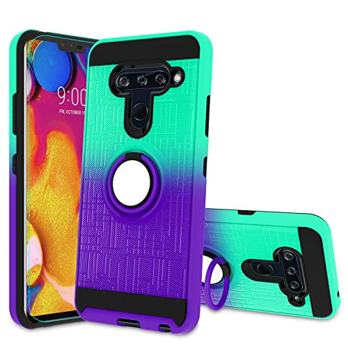 Atump LG V40 Case, LG V40 ThinQ Phone Case with HD Screen Protector, 360 Degree Rotating Ring Holder & Kickstand Bracket Dual Layers Cover Phone Case for LG V40 Mint/Purple