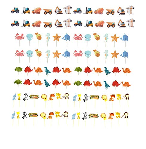 Cupcake Toppers Pack Decorations-Ocean Sea Mermaid Theme Topper-Dinosaur-Jungle Safari Zoo Animals Theme Cake Topper-Construction Truck Cake Picks- Kids Halloween Thanksgiving Birthday Cake Decor For Girls Boys Baby Shower