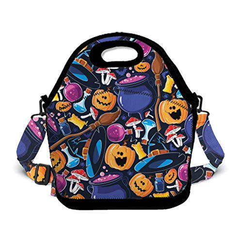 Insulated Lunch Bag | School Lunch Pack for Boys, Girls, Kids, Adults | Happy Halloween Party Patterns | Compact Lunch Box for School, Office - Ocean Octopus -