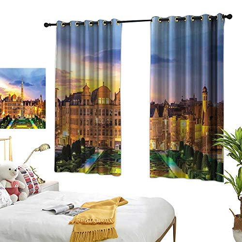 RuppertTextile European Insulated Sunshade Curtain Brussels Citscape with Monument Belgium Avenue Medieval in Gothic Style Print 55