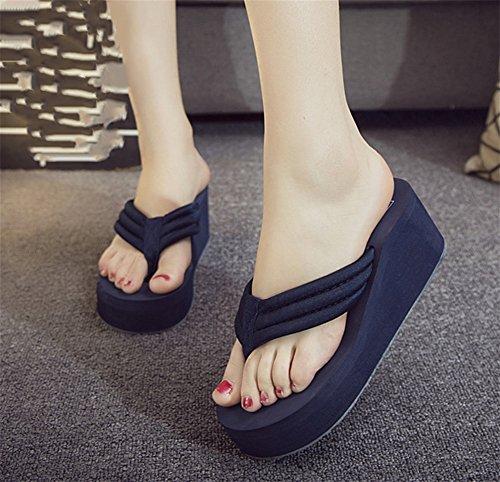 Tamaño Verano Dark Chanclas Moda NVXIE blue Playa de Mujer Tela Antideslizante de de de Gran Zapatos Sandalias CICTqwd