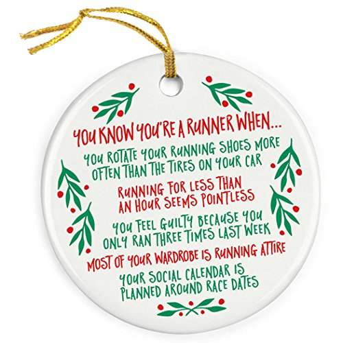 Gone For a Run You Know You are A Runner When. Ornament | Running Porcelain Ornaments (Runner Christmas Ornament)