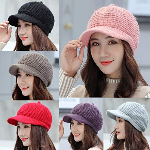 Haluoo Women's Newsboy Cap Visor Baker Paperboy Cap Cabbie Painter Hat Winter Cozy Beret Hat