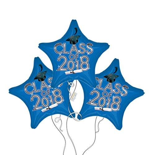 Graduation Cap Class of 2018 Star Mylar Balloons in Blue - 3 Pack