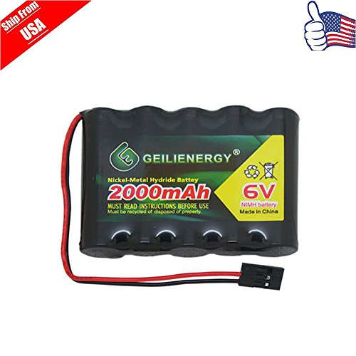 GeiLienergy 1pcs 6.0V 2000mAh Flat Receiver NiMH Battery For RC airplane Hitec (Hi Tec Receivers)