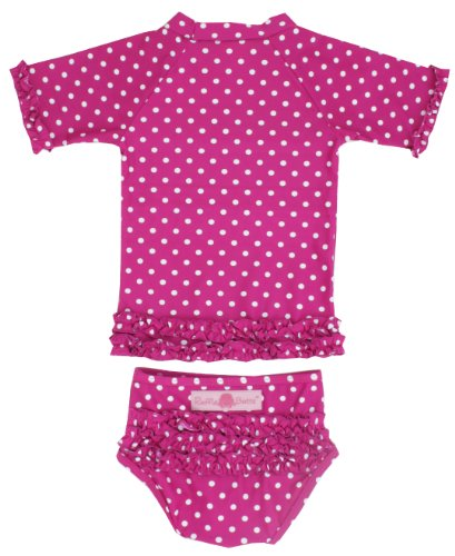 Rufflebutts infant toddler girls berry polka dot ruffled for Baby rash guard shirt