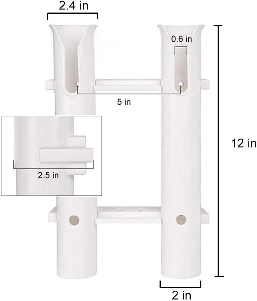 Plastic White 3 Tube Fishing Rod Holder Rack for Marine Boat Car RV w//Tools Slot