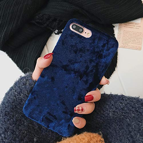 (Maxlight Retro Soft Velvet Phone Case for iPhone 7 8 Plus Luxury Fashion Warm Plush Fabrics Back Cover for iPhone Xs Max XR X Case (Blue, for iPhone XR))