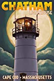 Cape Cod, Massachusetts - Chatham Light and Full Moon (9x12 Art Print, Wall Decor Travel Poster)
