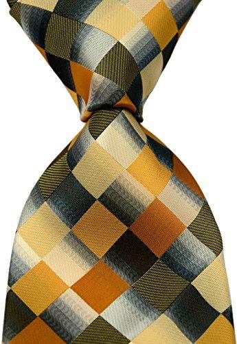 Scott Alone : New Classic Checks Jacquard Woven Silk Men's Tie Necktie (Khaki)