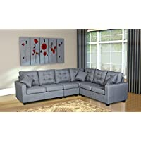 Oliver Smith - Large Dark Grey Linen Cloth Modern Contemporary Upholstered Quality Sectional Left or Right Adjustable Sectional 103' x 81' x 35' s287dgrey