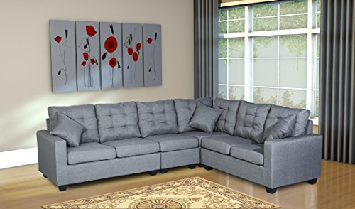 Oliver Smith - Large Dark Grey Linen Cloth Modern Contemporary Upholstered Quality Sectional Left or Right Adjustable Sectional 103