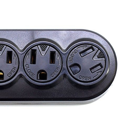 (10 Pack) 12Ft 6-Outlet Power Strip AC125V 14AWG Black -- Office or Home Plug Extension by Prime Wire & Cable (Image #2)