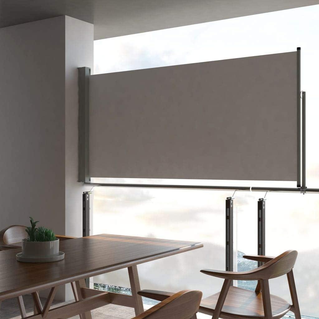 Festnight Ausziehbare Seitenmarkise 120 X 300 Cm Grau Windschutz