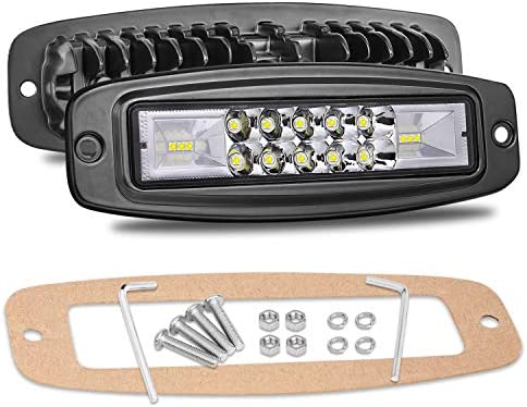 Flush Mount LED Pods, Niwaker 7 Inch 96W Flush Mount LED Light Bar Off Road Driving lighting fixtures Spot Flood Combo LED Work Light Bar Super Bright Fog Lights for Truck Boat 4x4 UTV ATV Pickup Boat