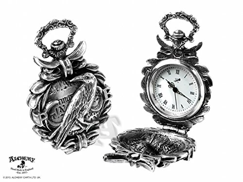 Edgar Allen Poe The Nevermore Fob Watch by Alchemy Gothic (Face Pocket Watch Timepiece)