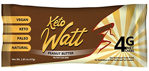 KetoWatt Keto Bars - Ketogenic Diet, Low Carb, Keto-Friendly, Low Glycemic, Vegan, Paleo, All Natural, Gluten Free, GMO Free snacks to reach ketosis, 12 pack (Peanut Butter)