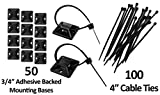 3/4'' Adhesive Backed Mounting Bases with 6'' Cable Ties - Black