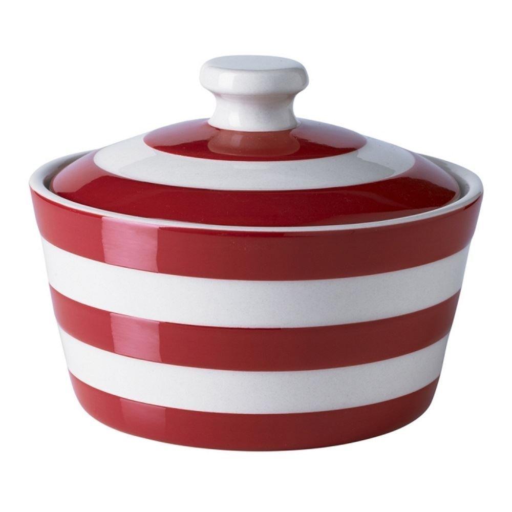 Cornishware Red and White Stripe Stoneware Butter Dish