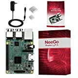 NeeGo Raspberry Pi 3 Starter Kit – Pi 3 Model B Barebones Computer Motherboard with 64bit Quad Core CPU & 1GB RAM, 2.5A Power Supply & Heatsink 2-Pack
