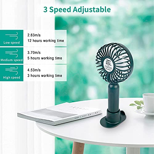 Nagaros Mini Handheld Fan, Silent Portable USB Fan With 2000mAh Rechargeable Battery, Small Personal Desk Fan for Home Office Indoor Outdoor Traveling (DarkSlateGray)