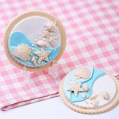 Efivs Arts Ocean Series Silicone Mold Fondant Mold Cupcake Starfish Shell Cake Decoration Tool 3 1/4 Inch