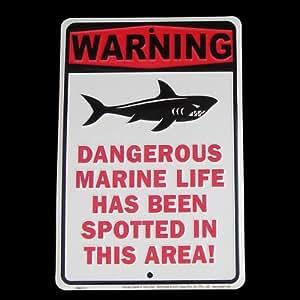 Amazon Com Tg Llc Shark Warning Tin Sign Dangerous Marine